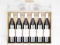 Wine bottles blank labels. Wine bottles with blank labels in wooden box placed on light table with wine glasses and corkscrew. Topview. Mock up, 3D Rendering vector illustration