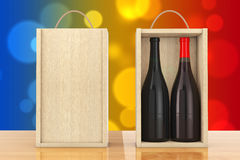 Wine Bottles in Blank Wooden Wine pack with Handle. 3d Rendering Royalty Free Stock Images