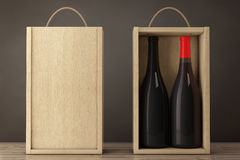 Wine Bottles in Blank Wooden Wine pack with Handle. 3d Rendering Stock Image