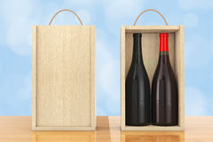 Wine Bottles in Blank Wooden Wine pack with Handle. 3d Rendering Royalty Free Stock Photography