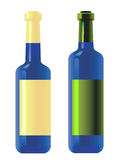 Wine bottles blue. Royalty Free Stock Photo