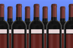 Wine Bottles with blue background. Unlabeled red Wine Bottles with blue background Stock Photos