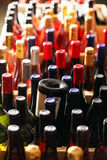 Wine bottles in cases Royalty Free Stock Photo