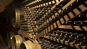 Wine bottles in wine cellar.  stock footage