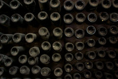 Wine bottles in cellar Stock Images