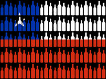 Wine bottles and Chilean flag Stock Photography
