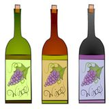 Wine Bottles Clip Art. A clip art illustration of a collection of 3 wine bottles in green, red, and black with corks and labels on the front of each featuring vector illustration