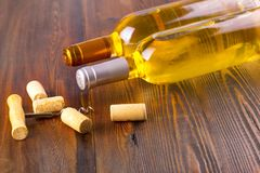 Wine bottles collection on wooden background. Wine bottles collection on wooden background Stock Photography
