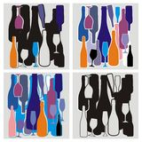 Wine bottles. Color composition from wine bottles and glasses royalty free illustration