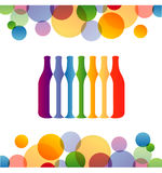 Wine bottles with colorful circles Stock Photos
