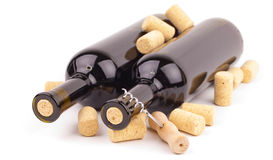 Wine bottles and corks Royalty Free Stock Photo