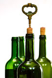 Wine bottles and corkscrew Stock Photography