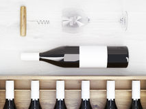 Wine bottles corkscrew. Wine bottles with blank labels, wine glass and corkscrew on wooden table. Topview. Mock up, 3D Rendering Stock Images