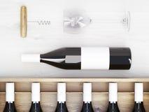 Wine bottles corkscrew Stock Images