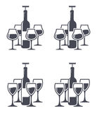Wine bottles with corkscrew and wine glasses, vector  Stock Photography