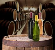 Different wine bottles, close-up view stock photos