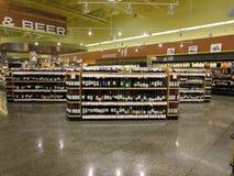 Wine bottles display Stock Photo