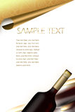 Wine bottles. drinks menu. Illustration. bottle of wine. horizontal position. dark red crystal, gold label details. detail in the upper, gastronomic menu and Stock Images