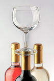 Wine bottles and empty glass Royalty Free Stock Image