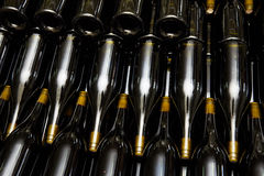 Wine bottles in factory Royalty Free Stock Photo