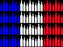 Wine bottles and French flag Stock Photography