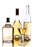 Wine bottles and glass Stock Photos