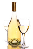 Wine bottles and glass. Over white ackground Stock Photos