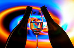Wine bottles & glass silhouettes royalty free stock photos