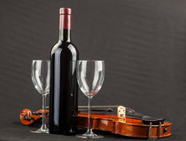 Wine. Bottles of wine and glasses Stock Images