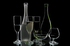 Wine bottles and glasses Royalty Free Stock Photography