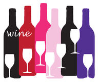 Wine Bottles and Glasses Design Stock Photo