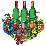 Wine bottles with glasses and grape Stock Image
