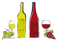 Wine bottles with glasses and grapes Stock Photography