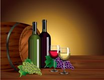 Wine bottles, glasses, grapes and barrel royalty free illustration