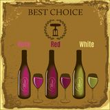 Wine bottles and glasses. Grungy background with wine bottles and glasses of various kinds Royalty Free Stock Images