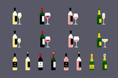 Wine bottles with glasses icons set. Vector illustration Stock Photos