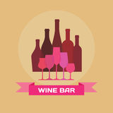 Wine Bottles and Glasses - Illustration Royalty Free Stock Photography