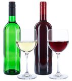 Wine bottles glasses red and white alcohol isolated. On a white background stock images