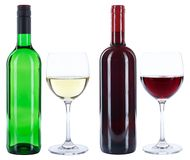 Wine bottles glasses red white isolated. On a white background stock images