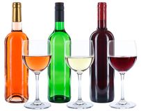 Wine bottles glasses red white rose alcohol isolated. On a white background royalty free stock photo