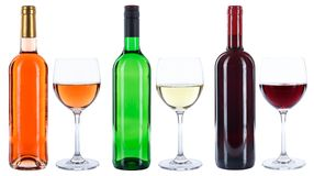 Wine bottles glasses red white rose isolated Stock Photography