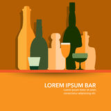 Wine bottles and glasses in simple flat design Stock Photos