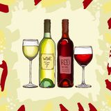 Wine set vector sketch. Hand drawn alcoholic collection menu illustration. Vector image royalty free illustration