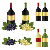 Wine bottles and grape. Set of wine bottles with blank label and grape fruit isolated on white background.EPS file available stock illustration