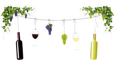 Wine bottles, grapes and wine glasses Royalty Free Stock Photography
