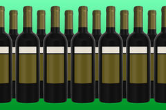 Wine Bottles with green background. Unlabeled red Wine Bottles with green background Stock Photography