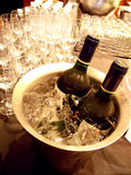 Wine bottles in the ice bucket Royalty Free Stock Image