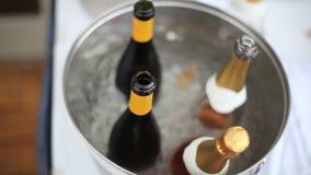 Wine Bottles on Ice Pan stock video