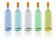 Wine bottles. Illustration of wine bottles in various colors isolated royalty free illustration