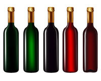 Wine bottles isolated on white. Set of wine bottles isolated on white background,Vector illustration Stock Image